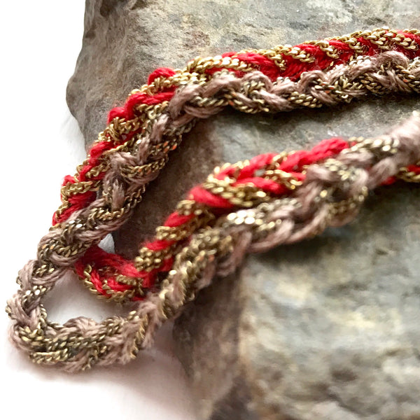 Crochet Brass and Silk Bracelet by Izabela Motyl