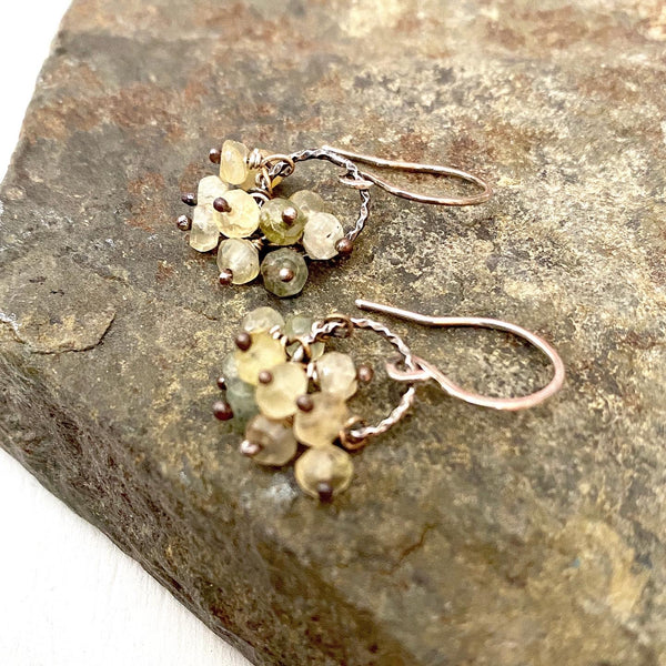 silver quartz earrings