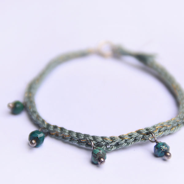 Crochet Bracelet With Azurite