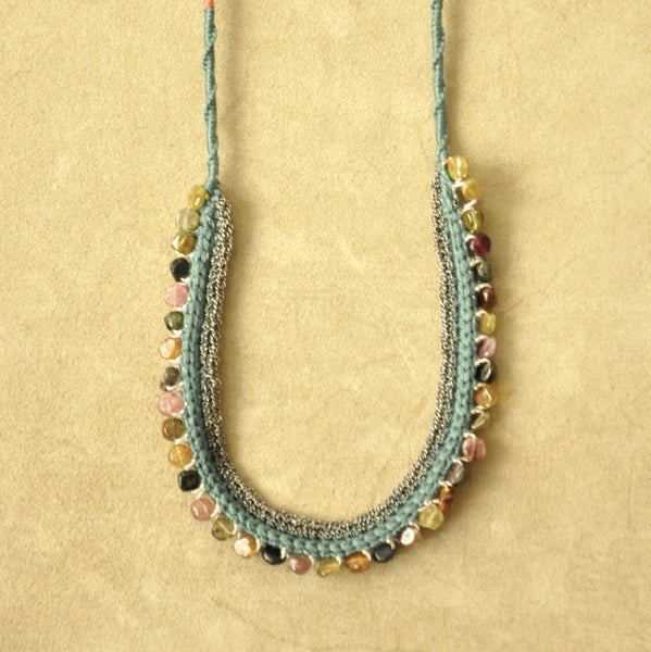 Tourmaline Crochet Silk And Silver Necklace by Izabela Motyl