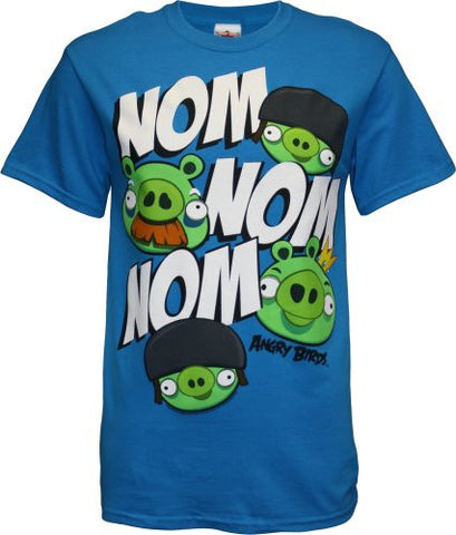 Angry Birds Nom Nom Nom Men's T-Shirt, X-Large, Turquoise, Shirts, Angry Birds - Anime Monster