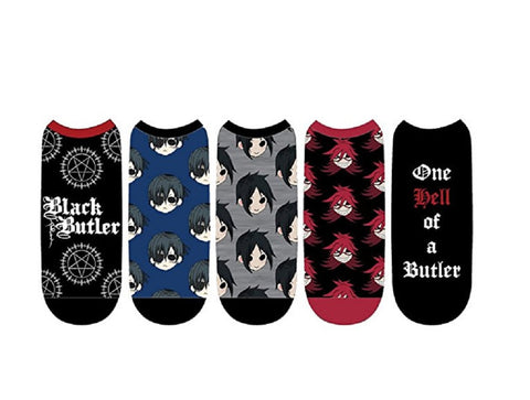 Anime Black Butler Manga Shonen Ciel Unisex 5 Pair Low Cut No Show Socks Cosplay
