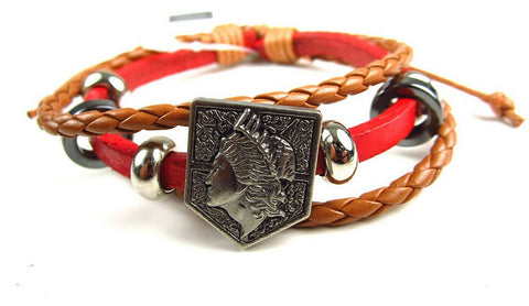 Attack On Titan- Faux Leather Bracelet Fits Most - Wall Maria Red, Bracelets, Kodansha - Anime Monster
