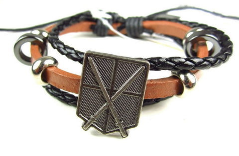 Attack On Titan- Faux Leather Bracelet Fits Most - Training Corps Brown, Bracelets, Kodansha - Anime Monster