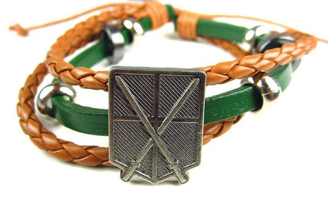 Attack On Titan- Faux Leather Bracelet Fits Most - Training Corps Green, Bracelets, Kodansha - Anime Monster