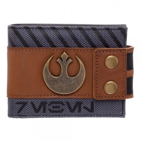 Bioworld Men's Star Wars Rogue One Rebel Snap Bi-fold Wallet