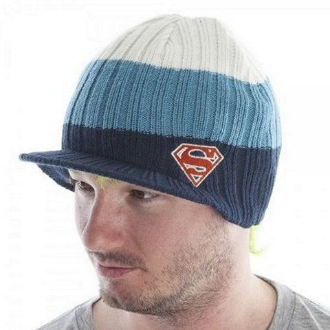 Beanie - DC Comics - Superman Knit Billed (White/Blue/Navy) One Size Fits Most, Beanies, Bioworld - Anime Monster