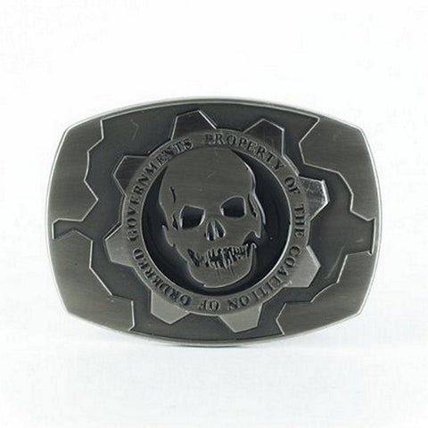 "Gears of War Cog tag Silver Metal Buckle 5""x3.5"", Belts, Gears of War - Anime Monster"