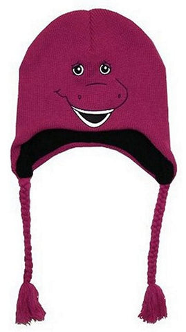 Barney Big Face Knit Laplander Peruvian Hat One Size Fits Most, Beanies, Bioworld - Anime Monster