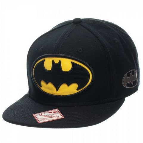 Batman Logo Snapback Hat, Black One Size Fits Most, Hats, Bioworld - Anime Monster