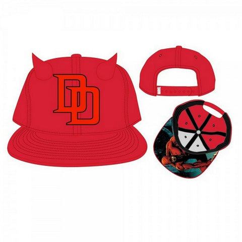 Bioworld Marvel- Daredevil Snapback Hat- Horns One Size Fits Most, Hats, Bioworld - Anime Monster