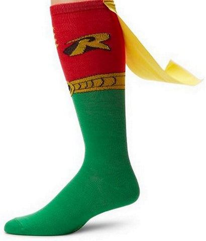 DC Comics Men's Robin Juniors Knee High Cape Sock Red One Size, Socks, DC Collectibles - Anime Monster