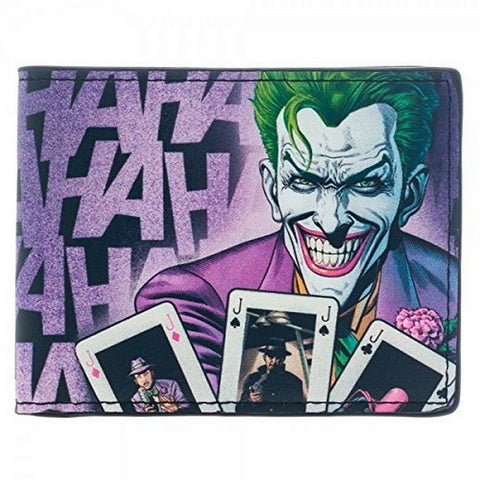 "Batman Joker Hahaha Bi-Fold Wallet 4""x3"" Folded Faux Leather, Wallets, Bioworld - Anime Monster"