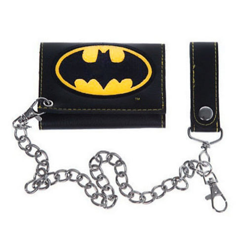 "BATMAN LOGO TRI-FOLD WALLET WITH CHAIN Faux Leather 4""x3"" Folded, Wallets, Bioworld - Anime Monster"