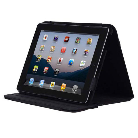 Premium Kickstand with stylus for iPad 3 - Black Syn Leather
