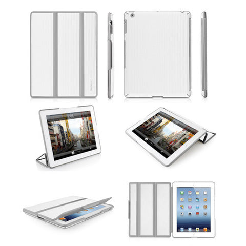 BOOKSTANDBW Hardshell Flexible Cases for iPad 3 - White/Gray