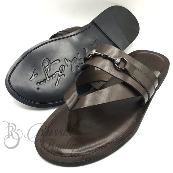 Bida Horsebit Leather Slippers | Brown Sandals