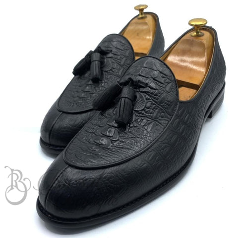 Billionaire Tasseled Skin Shoe | Black Shoes