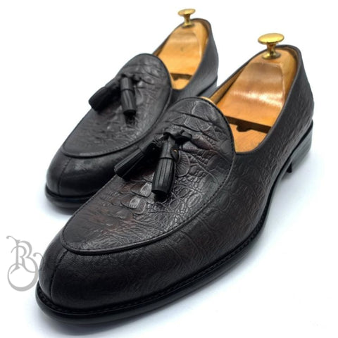 Billionaire Tasseled Skin Shoe | Brown Shoes