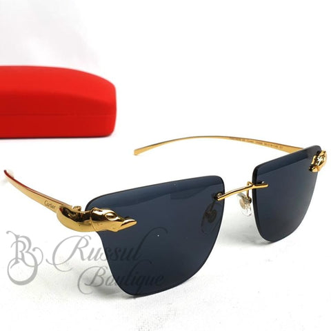 Crt Rimless Dark Sunglasses | Gold