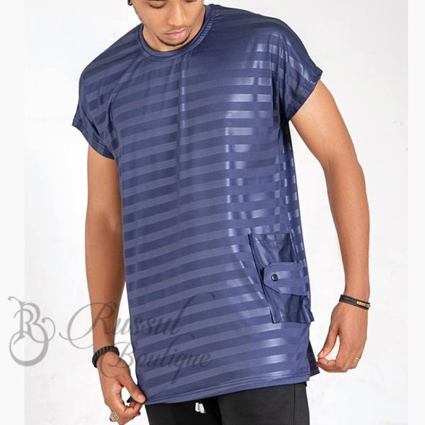 Curban Horizontal Stripe Piece | Blue Shirts