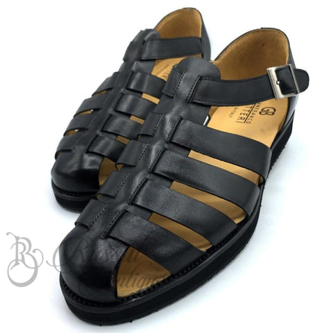 Gb Elite Leather Mens Sandals | Black Sandal