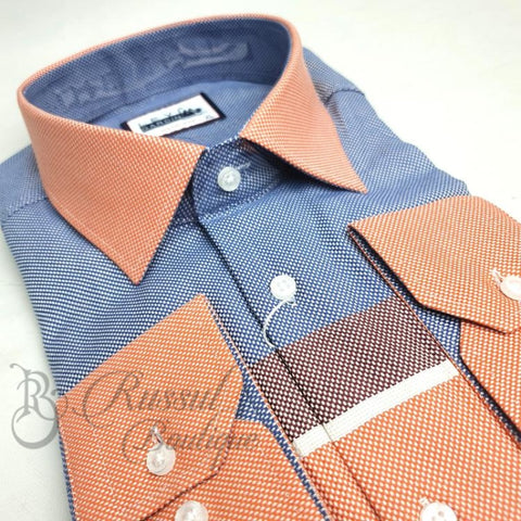 Levi Garden Dress Shirt | Peach/blue Shirts