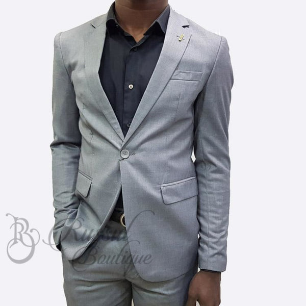 Mens Suit With Single Button |Grey
