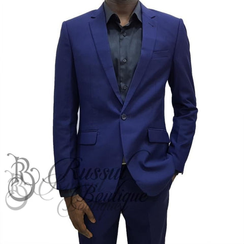 Mens Suit With Single Button | Navy Blue