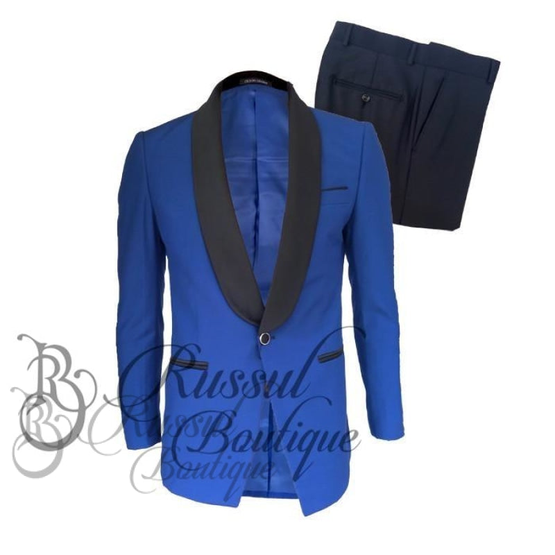 Men's Tuxedo with Single Button |Royal Blue - Russul boutique
