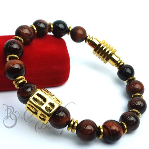 Rb Crystal Beaded Bracelet For Guys | Brown