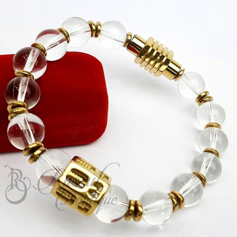 Rb Crystal Beaded Bracelet For Guys | Gold