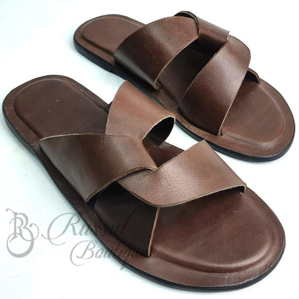Rb Overlap Leather Slips | Brown Sandals