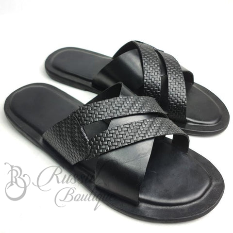 Rb Detailed Leather Slips | Black Sandals