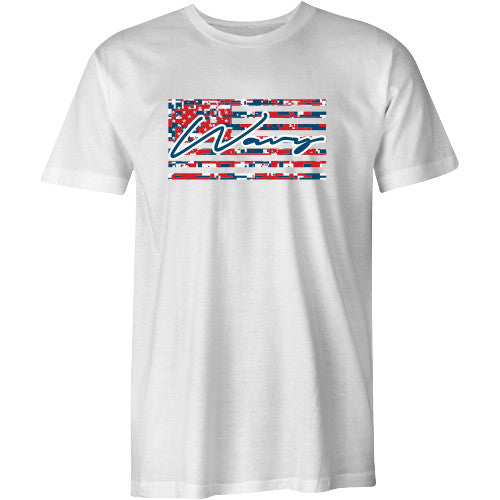 Digi camo flag tee white - SHOP WAVY