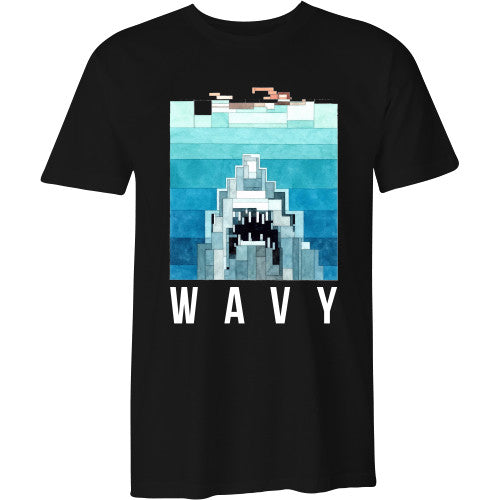 Jaws tee black - SHOP WAVY