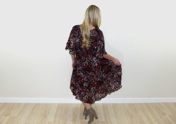 Angel floral dress in wine