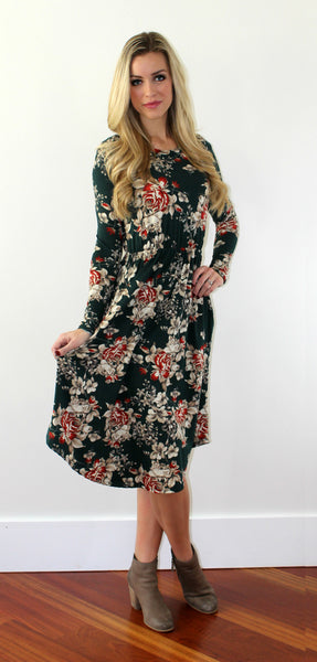 Hunter Floral Dress in Green