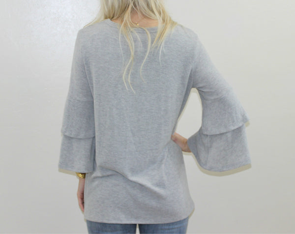 The Kendra Ruffle Top in Grey