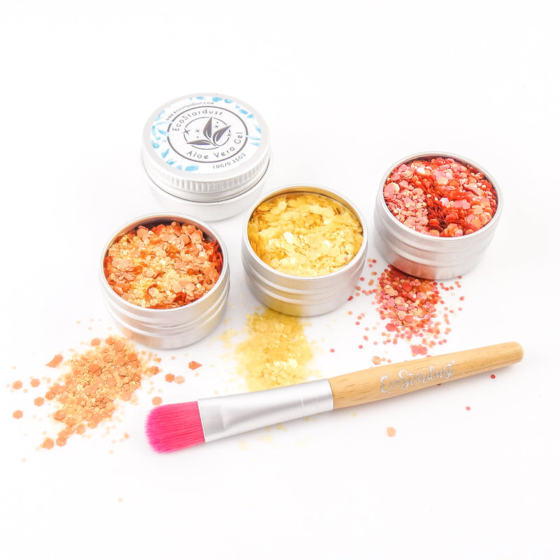 EcoStardust Citrus Biodegradable Trio-Glitter, Gel, Brush Set PURE - EcoStardust