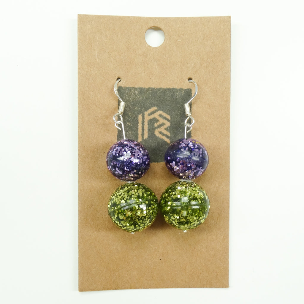 Rochfort Custom Resin Glitter Earrings - Green and Purple Glitter Disco Balls - EcoStardust