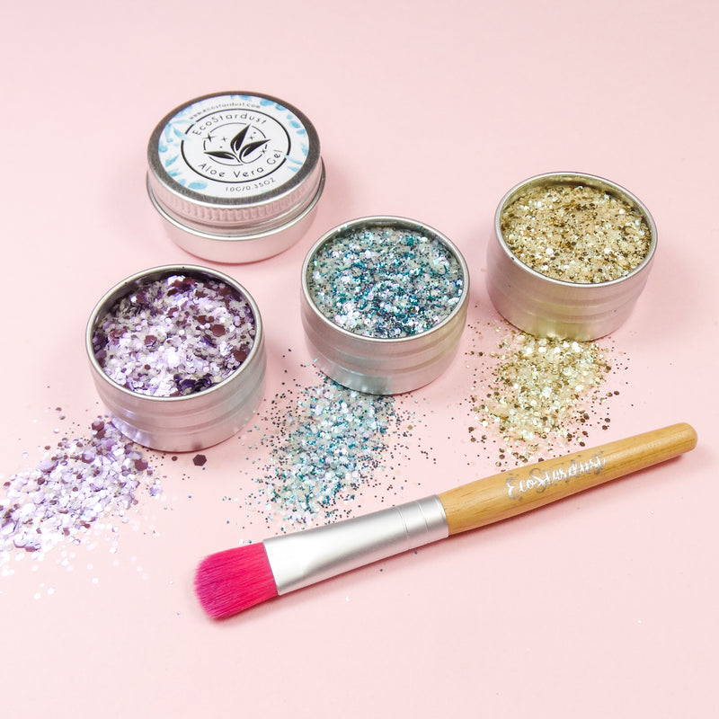 EcoStardust Euphoria Biodegradable Trio-Glitter, Gel, Brush Set - EcoStardust