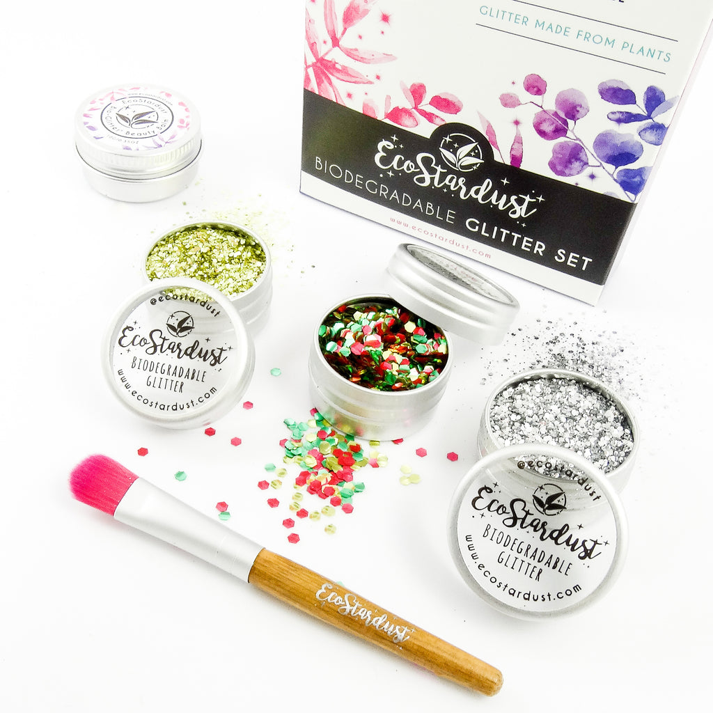EcoStardust Festive Edition Biodegradable Trio-Glitter, Balm, Brush Set