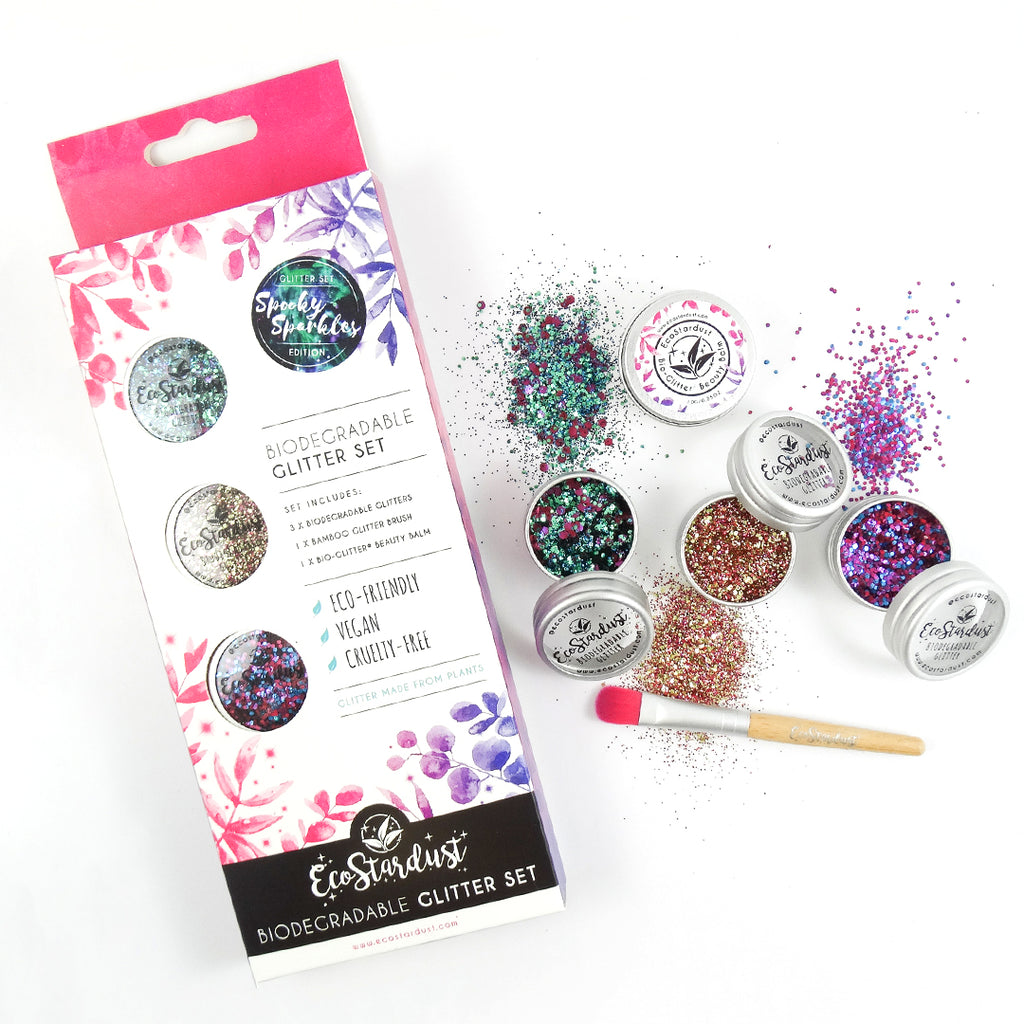 EcoStardust Spooky Sparkles Edition Biodegradable Trio-Glitter, Balm, Brush Set - EcoStardust
