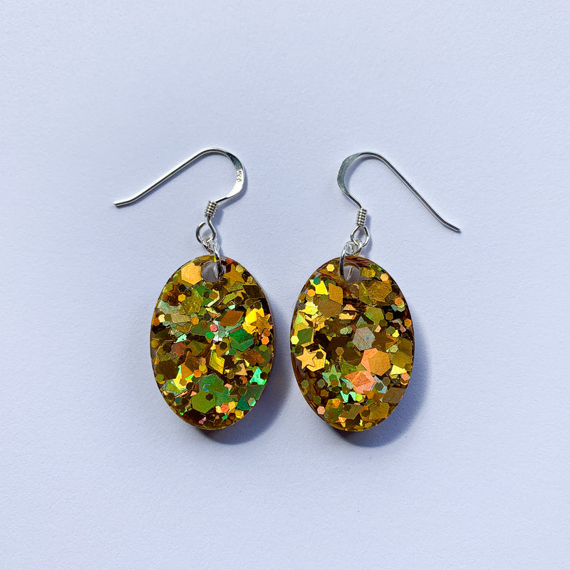 EcoStardust Amnesty Glitter Earrings - 60's Green Holo Mini Ovals