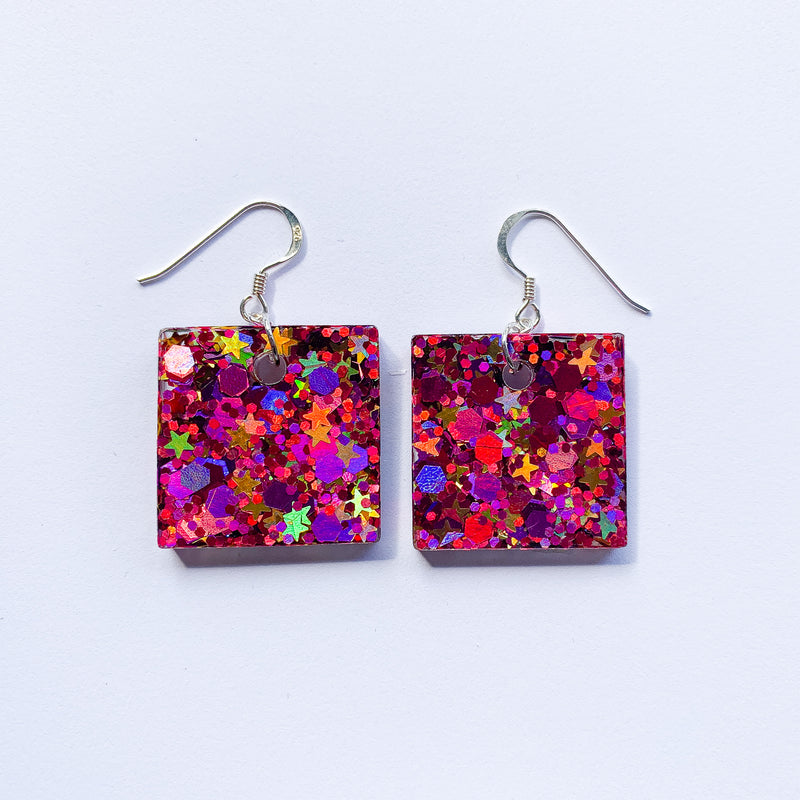 EcoStardust Amnesty Glitter Earrings - Circus Stars Glitter Small Squares