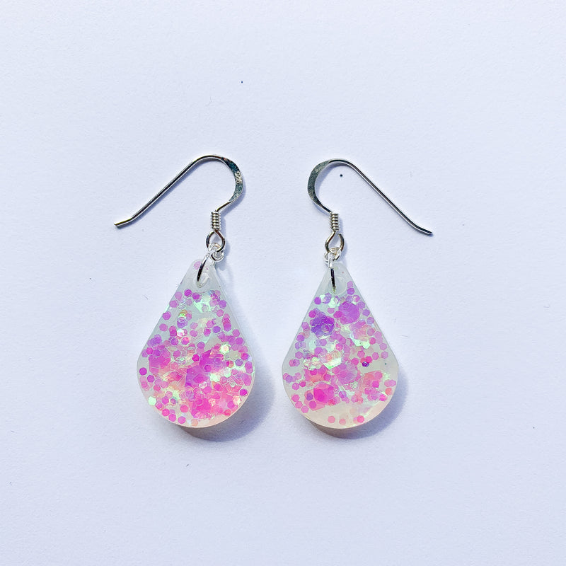 EcoStardust Amnesty Glitter Earrings - Pink Iridescent Pear Drops