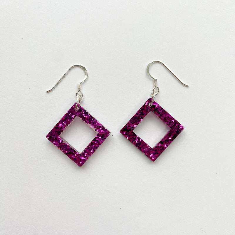 EcoStardust Amnesty Glitter Earrings - Mini Fuchsia Cut Out Square Glitter Squares