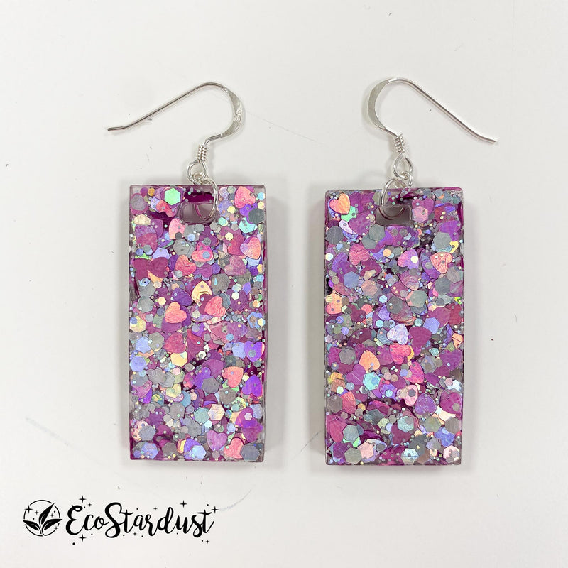 EcoStardust Amnesty Glitter Earrings - Silver and Pink Heart Large Rectangles