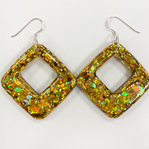 EcoStardust Amnesty Glitter Earrings - Mega Gold Rounded Square Cut Out